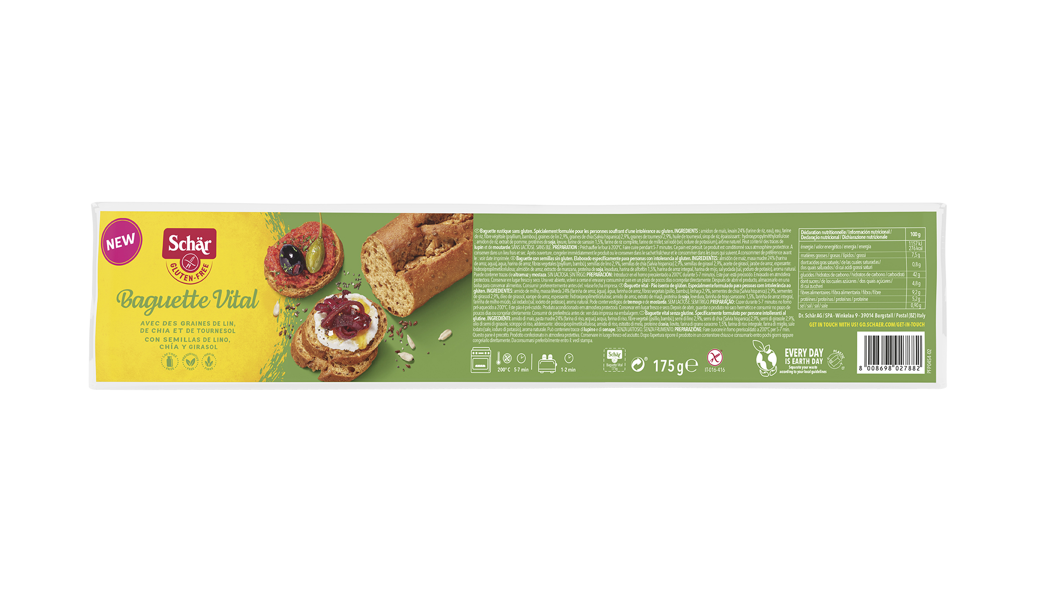 Brezglutenska bageta Vital - Baguette Vital - 175 g