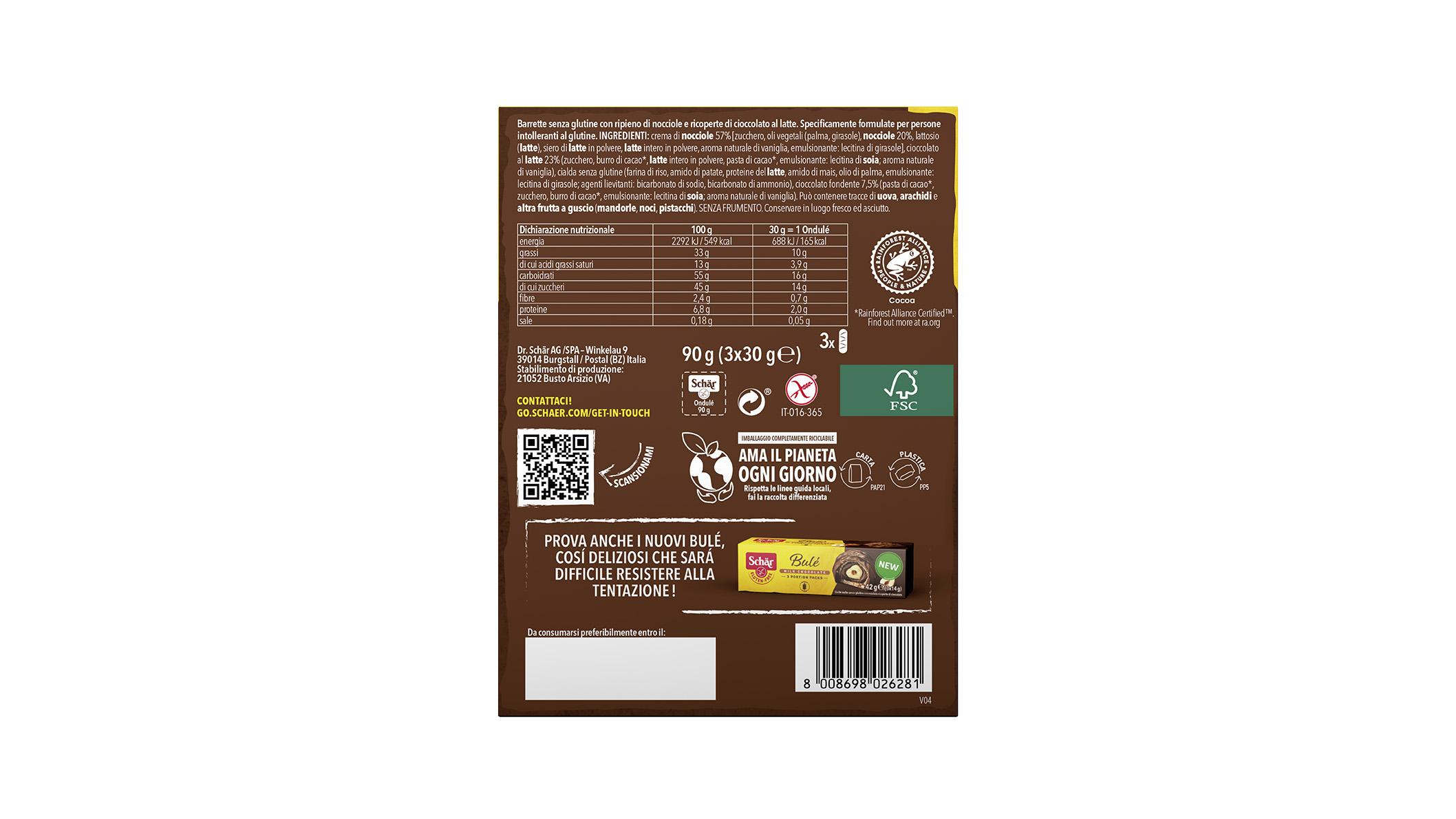 Brezglutenska čokoladica z lešnikovo kremo – Ondulé